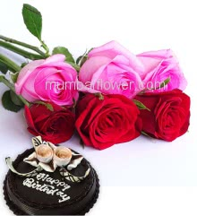 Bunch of 6 Red and Pink Roses with fillers and ribbons and Half Kg. Chocolate Cake