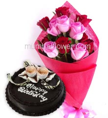 Bunch of 15 Red and Pink Roses nicely decorated with Paper Packing and ribbons and Half Kg. Chocolate Cake, Rose Bouquet n Cake