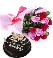 Birthday Cake Combo, Bunch of 24 Red and Pink Roses nicely decorated with Paper Packing and ribbons and Half Kg. Chocolate Cake
