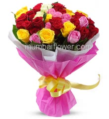 Bunch of 40 Mixed Color Roses nicely decorated with colored paper packing and ribbons, strait from heaven to heart