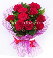 Hand Bouquet of 10 Red Roses nicely decorated with exclusive packing, simply magical