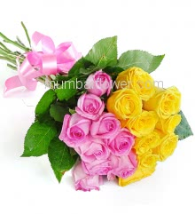 Bunch of 20 Mixed Pink and Yellow Roses nicely decorated with ribbons