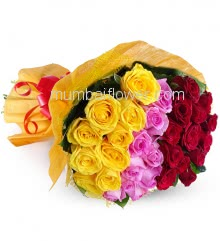 Hand Bunch of 30 Tricolor Roses nicely decorated with paper packing and ribbons