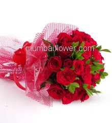 Bunch of 25 Red Roses nicely decorated with fillers and colored Ribbons with exclusive packing, the beauty at best.