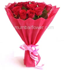 Bunch of 20 Red Roses nicely decorated with fillers ribbons and Paper Packing, best gift for  Birthday, Anniversary and Valentine.