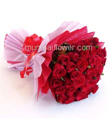 Premium my fair lady bouquet of 50 Red Roses nicely decorated with fillers ribbons and exclusive paper packing.