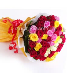 Hand Bouquet of 50 Mixed Color Roses nicely decorated with fillers and ribbons, with exclusive paper packing