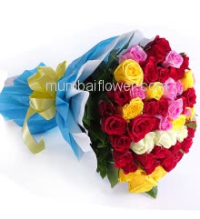 Awesome Hand tied bouquet of 75 mixed color roses nicely decorated with fillers and ribbons, packed with exclusive paper packing