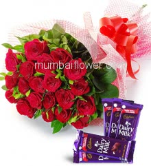 Bunch of 20 Red Roses nicely decorated and 5pc Cadbury Dairymilk of Rs.25 each