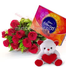 Combo of 10 Red Roses , Cadbury Celebration box and 6 Inch Teddy