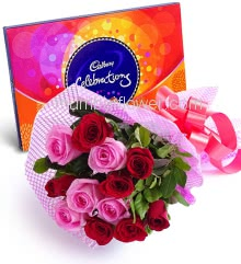 Bunch of 15 Red and Pink Roses nicely decorated with fillers Ribbons, with Small Box of Cadbury Celebration