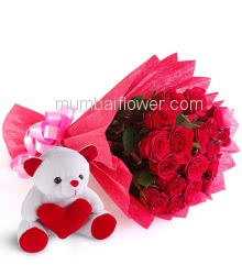 Bunch of 20 Red Roses nicely decorated with fillers and ribbons, with 6 Inch Teddy Bear