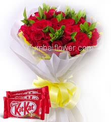 Combo of Bunch of 20 Red Roses nicely decorated with fillers and ribbons with 3 Pc Nestle KitKat of Rs.25 each.