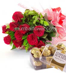 Bunch of 12 Red Roses nicely decorated with fillers and ribbons, with 16Pc Ferrero Rocher Chocolate Box