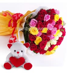 Bunch of 35 Mixed Color Roses with fillers and ribbons and 6 Inch Teddy Bear
