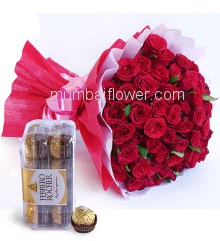 Bunch of 40 Red Roses nicely decorated with fillers and ribbons, nicely decorated with Box of 16pc Ferrero Rocher Chocolates