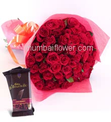 Roses Hand Bouquet of 45 Roses nicely decorated with fillers ribbons and Paper Packing, with 2pc Cadbury Bournville Chocolates of Rs.80 each