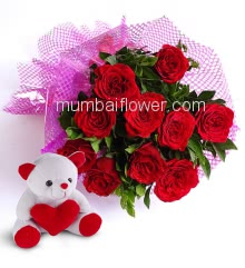 Beautiful Bunch of 10 Red Roses nicely decorated with fillers ribbons and 6 Inch Teddy