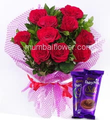 Beautiful Bunch of 10 Red Roses nicely decorated with fillers Ribbons and 2pc Cadbury Silk Chocolate of Rs.60 each