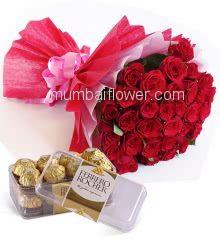 Bunch of 30 Red Rose nicely decorated with Paper Packing and Colored ribbons and 16 pc Fererro Rocher Box