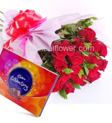 Bunch of 20 Red Roses nicely decorated with fillers ribbons packed with paper packing, with Box of Cadbury Celebration