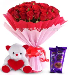 Romantic Bouquet of Stunning 40 Red Roses nicely decorated with fillers Ribbons and Paper Packing, with 6 Inch Teddy and 2pc Cadbury Silk Chocolate of Rs. 60 each.