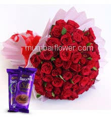 Bunch of 48 Red Roses nicely decorated with paper packing and 2 pc Cad Bury Dairy milk Silk
