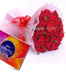 Bunch of 75 Red Roses with Pink paper Packing with ribbons and Big Cad bury Celerbration