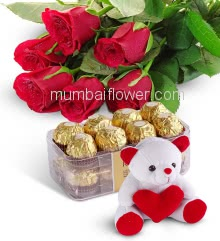 Bunch of 6 Red Roses with Plastic Cellophane packing and 16 pc Fererro Rocher Box and 6 Inch Teddy