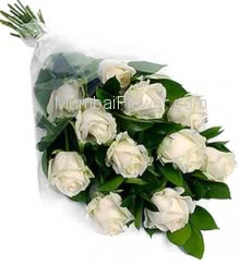 Bunch of 10 White Roses with Plastic Cellophane packing