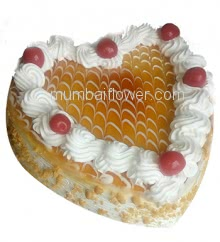 Half kg. Heart Shape Butter Scotch Cake...  Order 1 Day in advance. Please note : Cake icing may differ from shown picture.