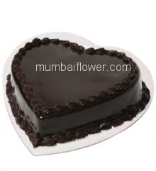 Half Kg. Premium Quality Heart Shape Chocolate Truffle Cake, best in taste and flavour... Order 1 Day in advance. Please note : Cake icing may differ from shown picture.