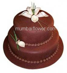 Best Quality 2 Tier custom made Chocolate Cake for Anniversary, minimum 3 Kg. or more.... Order 24 hours in advance. Please note : Cake icing may differ from shown picture.