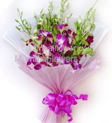 Special Orchids Bouquet for delivery to your loved ones. Include 6 Stems of orchids with Paper Packing and ribbons