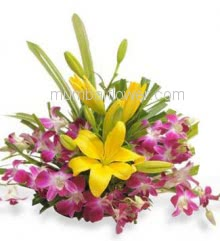 Arrangement Bouquet of 2 Lilies and 10pc Purple Orchids nicely decorated with fillers and greens