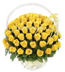 Basket of 75 Yellow Roses nicely decorated with fillers and greens