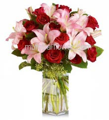 Hand Bunch of 5 Stems of Pink Lilies and 20 Red Roses nicely decoared with fillers and ribbons and Paper Packing. Please Note: Vase is not included.