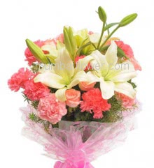 Hand Bouquet of 2 White Lilies 10 Pink Carnations and 10 Pink Roses with filler and ribbons