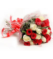 Hand Bunch of 20 Mixed Red and white Roses nicely decorated with fillers ribbons and plastic cellphone packing