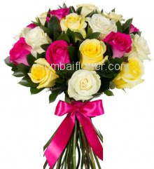 Hand Bunch 25 Beautiful Mixed Color Roses nicely decorated with fillers and ribbons