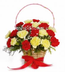 Basket of 30 Mixed Red and Yellow Carnations nicely decorated with fillers and greens