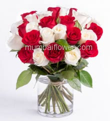 Glass Vase with 25 Red and white Roses nicely decorated with fillers and greens