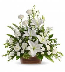 Arrangement of 3 White Lilies and 20 White carnations with fillers and greens