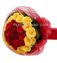 Hand Bunch of 40 mixed Red and Yellow Roses nicely decorated with fillers and ribbons with Color Paper Packing