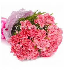 Bouquet of 15 Carnations nicely decorated with fillers ribbons and Color Paper Packing