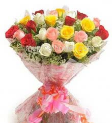 Hand Bouquet of 30 Mixed Roses nicely decorated with fillers ribbons and plastic cellophane packing