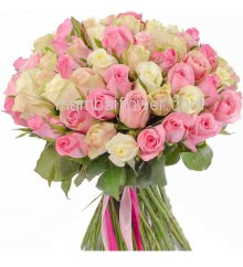 Hand Bouquet of 50 Pink and White Roses packed with color paper packing and ribbons