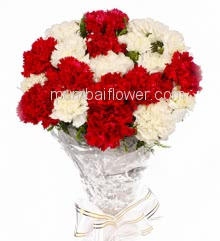 Bunch of 20 Red and White Carnations with fillers ribbons packed with color paper packing