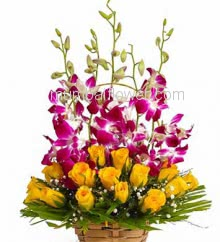 Beautiful Bouquet of 5 Purple Orchids and 20 Yellow Roses with fillers ribbons