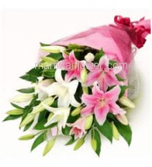 Hand Bouquet of Mixed 5 Pink and White Lilies with fillers ribbons and Color Paper packing